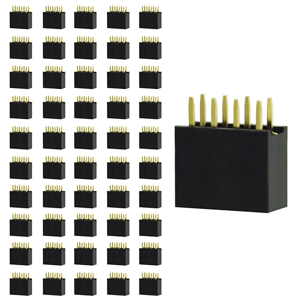 50pcs 2X4 8 Pin Female Double Row Straight Header PCB Connector