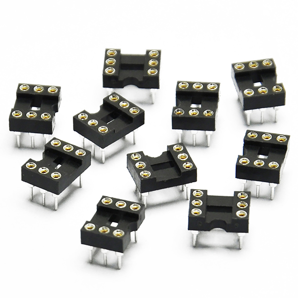 10pcs Round Hole 6pin Pitch 2.54mm DIP IC Sockets Adaptor