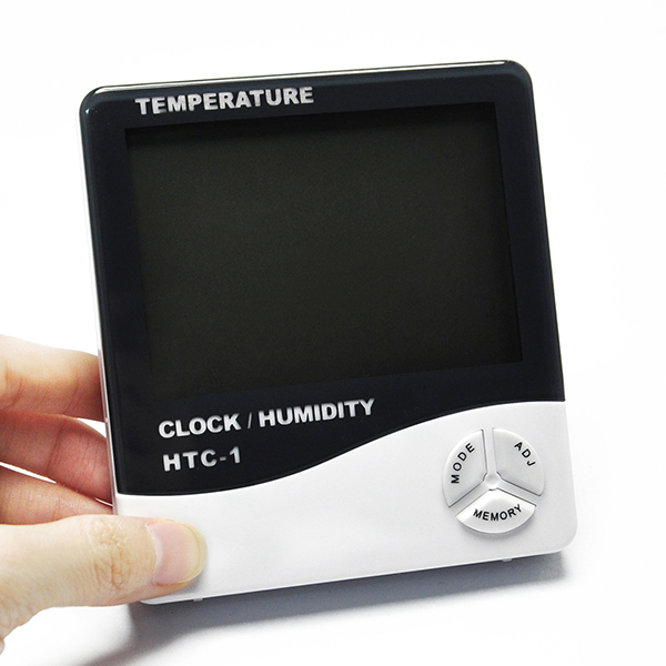 Digital LCD Temperature Humidity Meter Clock Thermometer