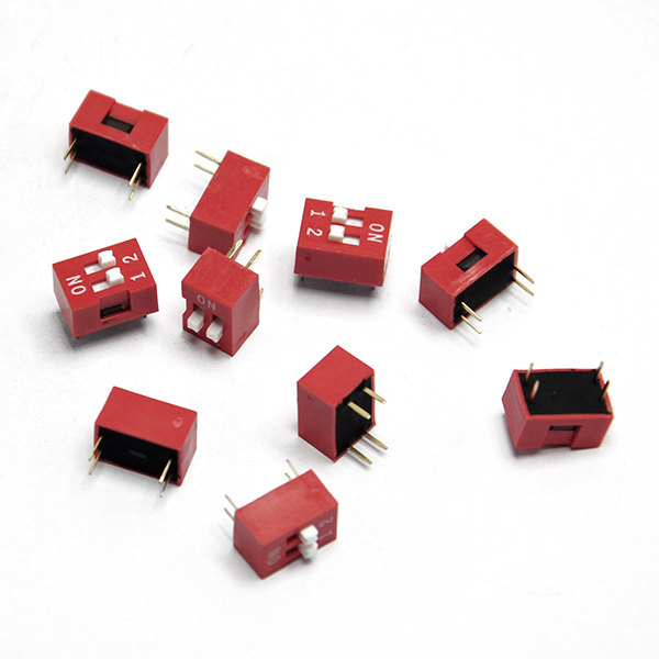 10PCS Red 2.54mm Pitch 2-Bit Ways Slide Type DIP Switch