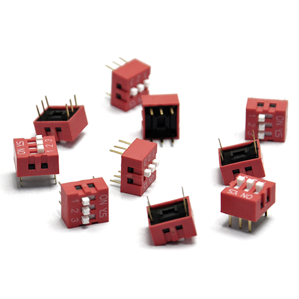 10PCS Red 2.54mm Pitch 3-Bit Ways Slide Type DIP Switch