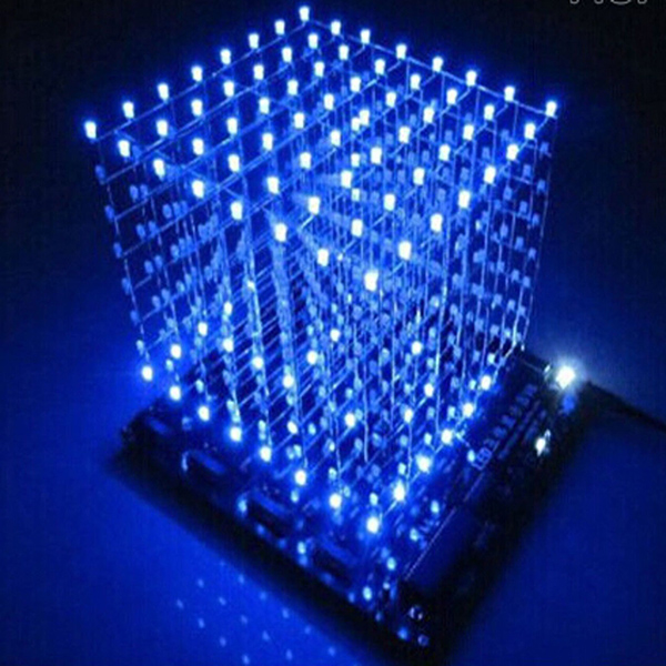 3D LightSquared DIY Kit 8x8x8 3mm LED Cube White LED Blue Ray