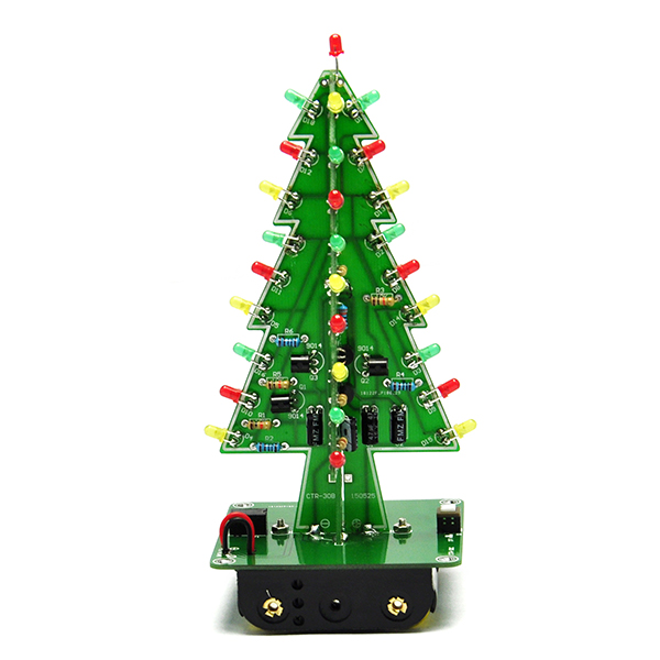 3D Christmas Trees LED DIY Kit Red Green Yellow LED