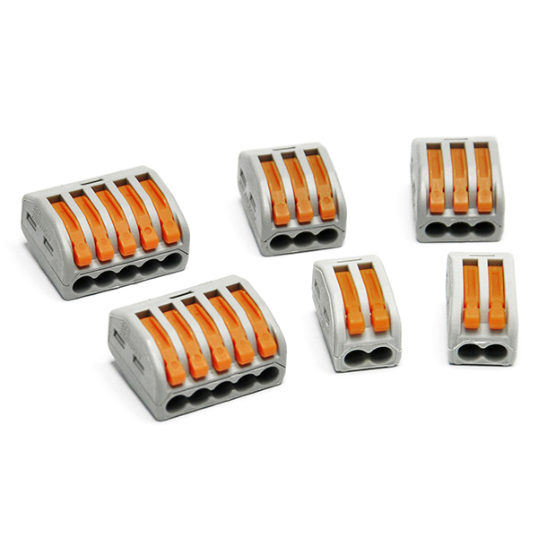 6PCS Spring Lever Terminal Block 2 / 3 / 5 Wire Connector