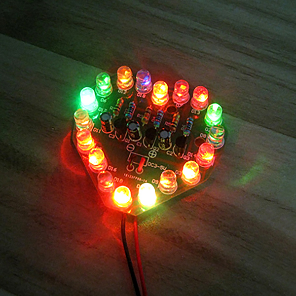 Heart-Shaped Flash Circuit Diy Kit 7 Color LED Cycle Lights