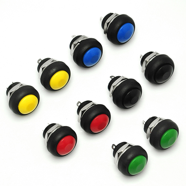 12mm Waterproof Push Button Momentary On Off Switch 5 Colors DIY