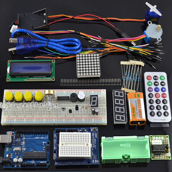 UNOR3 Starter Kit 1602 LCD Servo Motor Dot Matrix Breadboard LED
