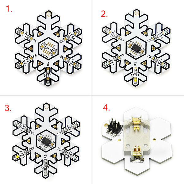 Snowflake Shape SMD SMT Soldering Skill Training Board DIY Kit