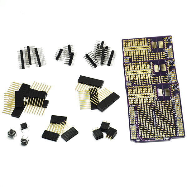 3PC Proto Shield Gold Print Board Diy Kit for Arduino UNO R3